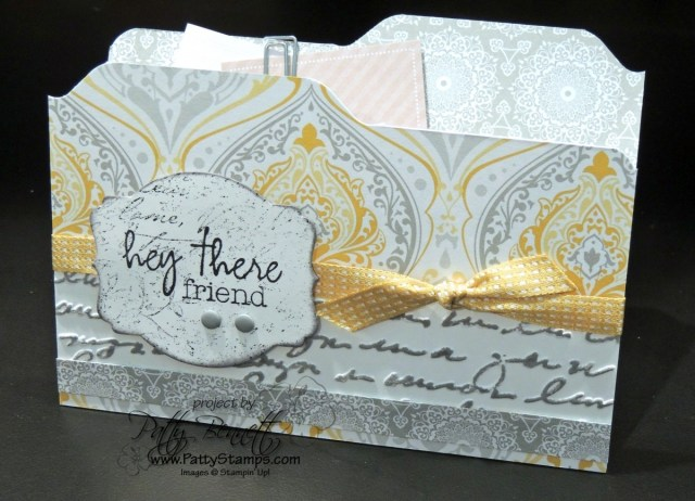 Envelope Punch Board File Folder style card ideas from Patty Bennett. Stampin' UP! paper crafting products available at www.MyStampOrder.com