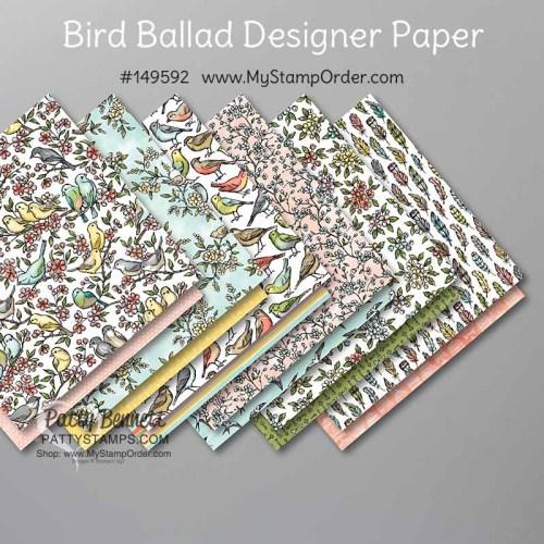 Bird Ballad designer paper - order online with Patty Bennett,  12x12 paper #149592 available online www.MyStampOrder.com