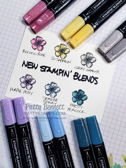 New Stampin' UP! Alcohol Markers colors - Stampin' Blends: Rococo Rose, So Saffron, Gray Granite, Purple Posy, Seaside Spray, Pretty Peacock. www.PattyStamps.com