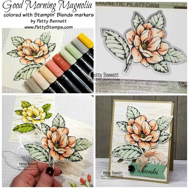 Good Morning Magnolia flower stamp set and die bundle available from Stampin' UP! at www.MyStampOrder.com Flower colored with Stampin' Blends markers. Birch Background card by Patty Bennett