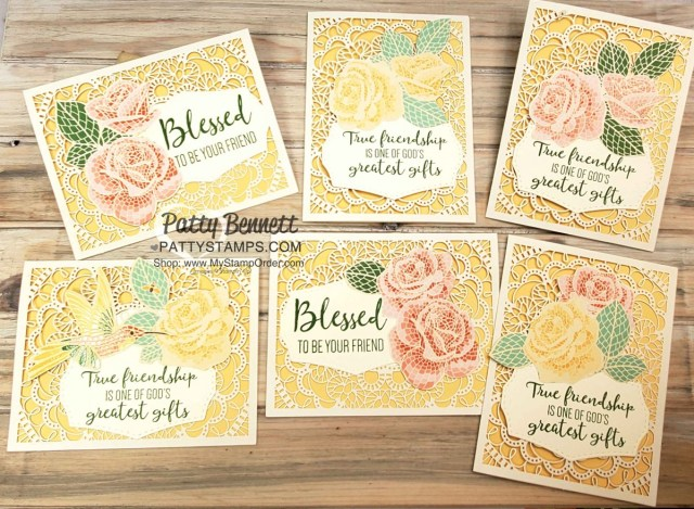 Stampin' UP! Bird Ballad Laser Cut card idea featuring Mosaic Mood designer paper roses, and To a Wild Rose stamp set and dies, by Patty Bennett www.PattyStamps.com