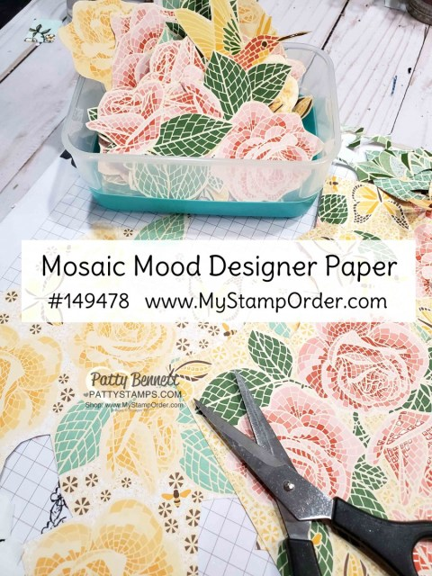 Stampin' Up! Mosaic Mood designer paper - roses and hummingbirds - fussy cut for papercrafting and card making. www.PattyStamps.com