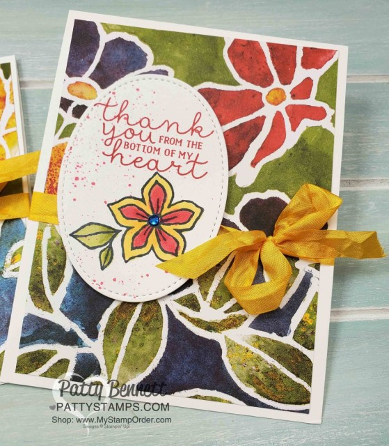 Stampin' Up! Thank You Card idea featuring See a Silhouette designer paper and Pocketful of Happiness stamp set colored with Stampin' Blends, by Patty Bennett, www.PattyStamps.com