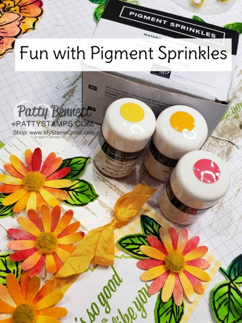 Paper Flowers created with Stampin' UP! Pigment Sprinkles featuring the medium Daisy Punch. By Patty Bennett www.PattyStamps.com