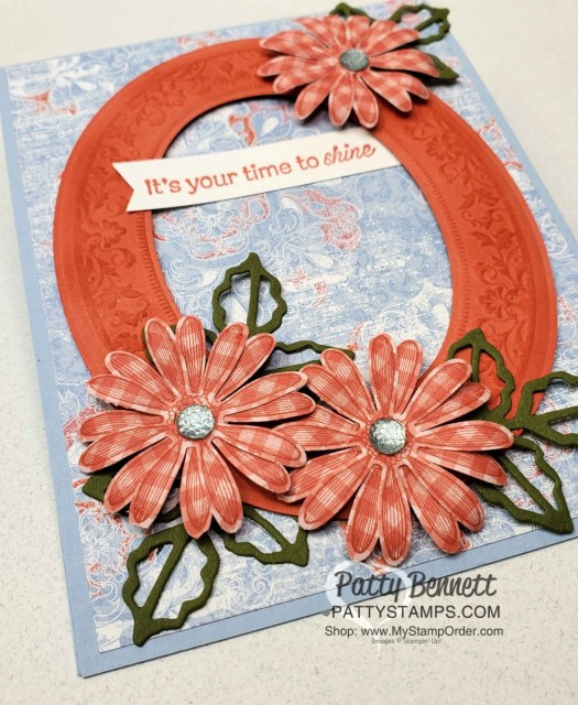Stampin' UP! Heirloom Frames and Dies (embossing folder bundle) card idea featuring Woven Threads Designer Paper and Medium Daisy Punch. www.PattyStamps.com