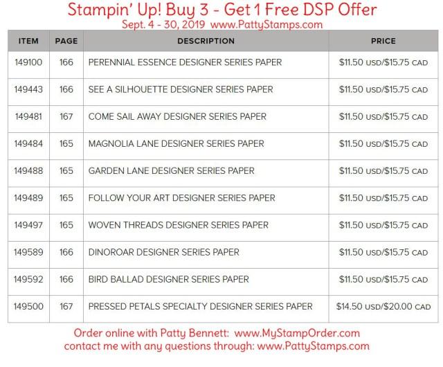 Stampin' UP! Buy 3 Get 1 Free Designer Series Paper (DSP) offer Sept. 4 to 30, 2019, www.PattyStamps.com