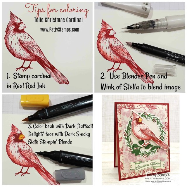 Tips for coloring the Cardinal Christmas Card featuring the Stampin' UP! Holiday Catalog Toile Tidings suite of papercrafting products! by Patty Bennett www.PattyStamps.com