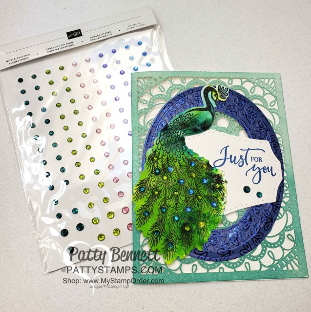 Stampin' UP! Noble Peacock bundle card idea featuring Pigment Sprinkles watercolor technique and Noble Peacock Rhinestones, with Heirloom Frames dies / embossing folder, by Patty Bennett www.PattyStamps.com