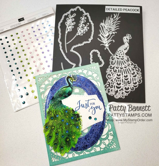 Stampin' UP! Noble Peacock bundle card idea featuring Pigment Sprinkles watercolor technique and Noble Peacock Rhinestones, by Patty Bennett www.PattyStamps.com