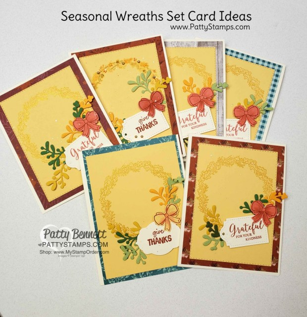 Stampin' UP! Seasonal Wreaths set with Gold Delicata Metallic ink. Fall card ideas by Patty Bennett, www.PattyStamps.com