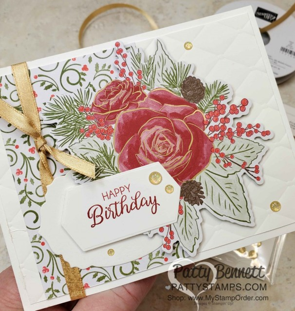Christmastime is Here suite from Stampin Up - designer paper die cut with Roses die, Christmas Card idea featuring Tufted, embossing folder, by Patty Bennett www.PattyStamps.com
