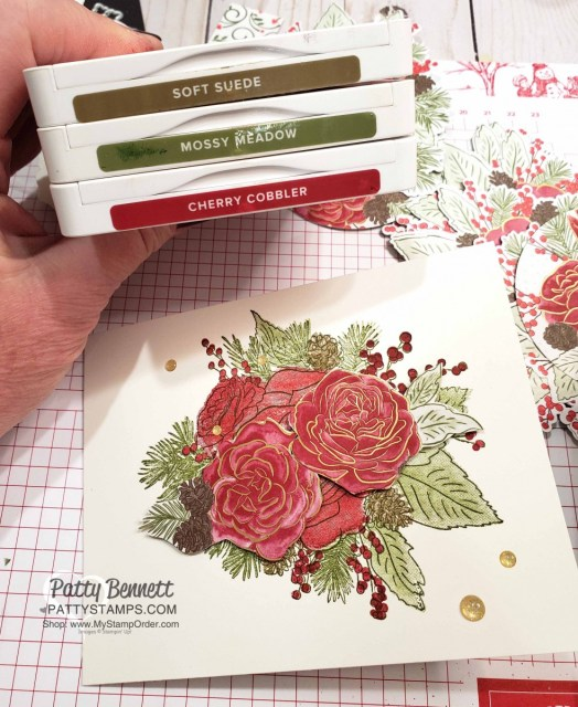 Christmastime is Here suite from Stampin Up Christmas Rose stamp set card idea color combo. By Patty Bennett www.PattyStamps.com