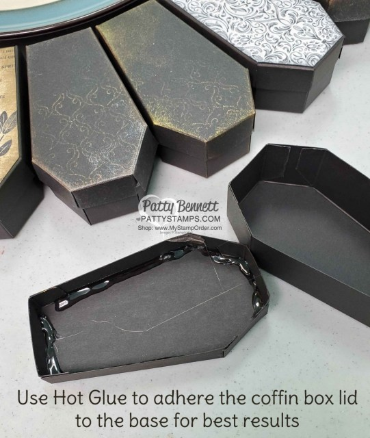 Tip for making Coffin Box Wreath from Stampin Up! - Halloween wreath craft project, featuring Stylish Scroll embossing folder and Delicata metallic inks, by Patty Bennett, www.PattyStamps.com