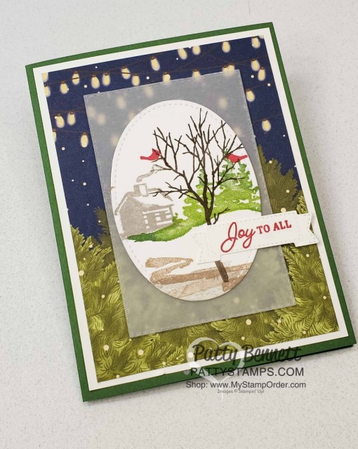Stampin Up Snow Front stamp set Christmas or Holiday card idea Featuring Night Before Christmas DSP by Patty Bennett www.PattyStamps.com