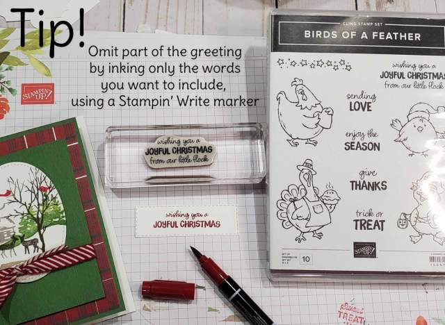 Stamping Tip: Use a Stampin Write Marker to ink only the portion of the rubber stamp you want to use. This is called Omitting. www.PattyStamps.com