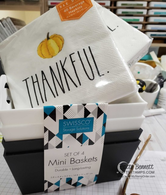 DIY Thanksgiving Hostess gift idea featuring Thankful napkins, fall candy and Stampin' UP! Come to Gather designer paper, Supplies from TJ Maxx, by Patty Bennett www.PattyStamps.com