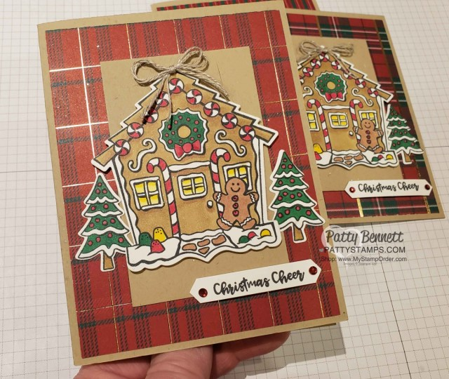 Yummy Christmas Gingerbread House Christmas card idea colored with Stampin' Blends by Patty Bennett www.PattyStamps.com