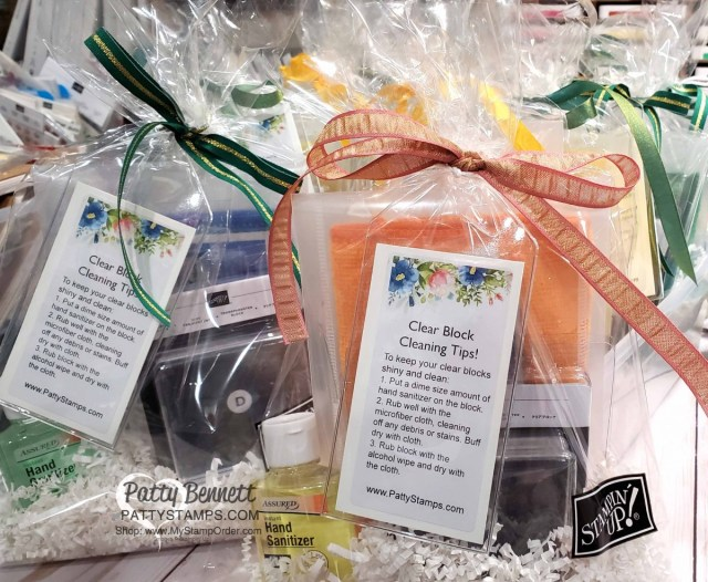 Gift Idea for Crafters! Clear Block cleaning it for rubber stamps! Microfiber cloth, hand sanitizer, and alcohol wipes in a kit! Great Christmas Gift or Retreat Favor! www.PattyStamps.com