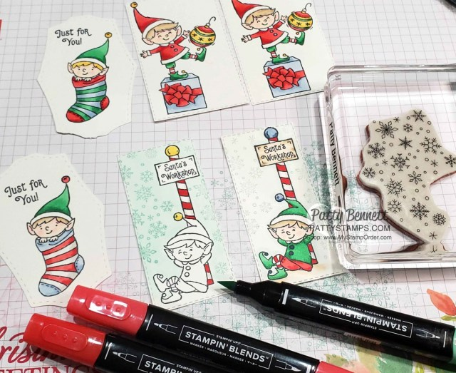 #Elfie stamp set colored with Stampin' Blends markers - fun Christmas tag ideas by Patty Bennett www.PattyStamps.com