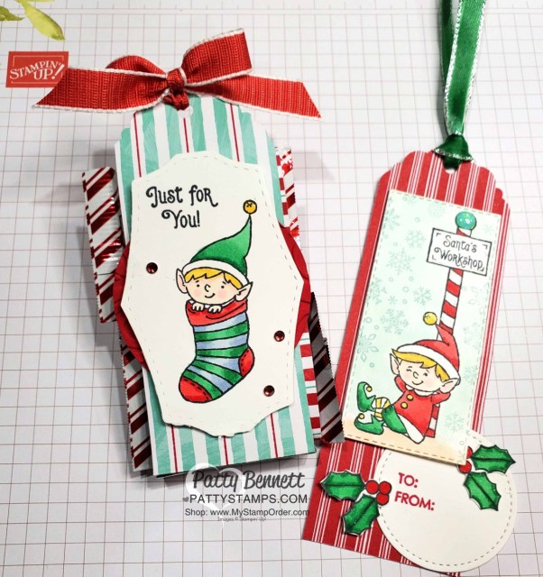 #Elfie stamp set colored with Stampin' Blends markers - fun Christmas tag idea by Patty Bennett, also featuring Let it Snow designer paper. www.PattyStamps.com