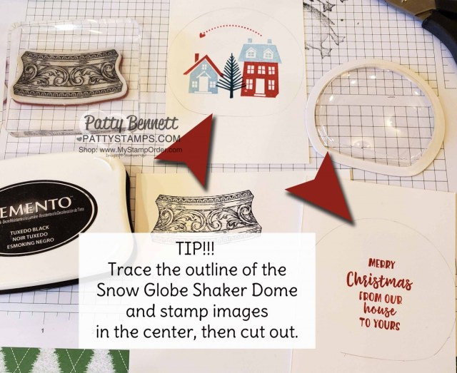 Tip to create: Snow Globe Shaker Dome Christmas Ornament featuring Stampin Up From Our House to Your stamp set, Stampin' Ice Glitter and Snowflake Sequins. www.PattyStamps.com