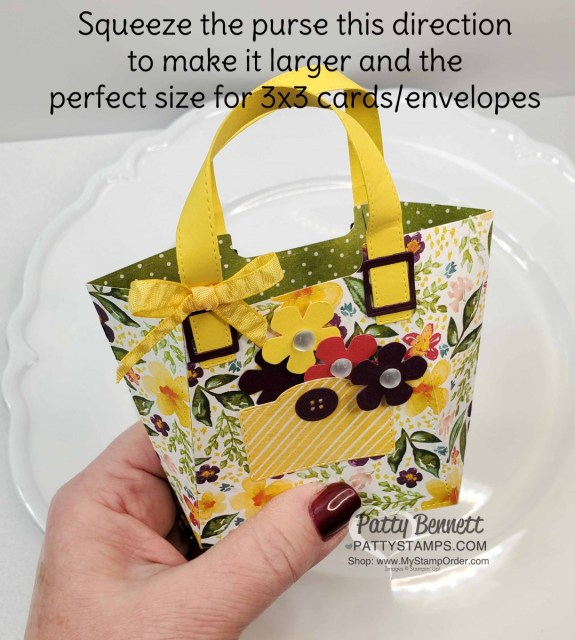 All Dressed Up Dies with Best Dressed Designer Paper Stack from Stampin' UP! create this adorable paper purse decorated with the Sale-a-Bration Small Bloom Punch and Frosted Epoxy droplets! Easy to make! by Patty Bennett www.PattyStamps.com