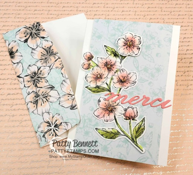 Scalloped Note Cards with Stampin Up Parisian Blossoms suite and Parisian merci die cut. Cherry Blossom flowers colored with Sponge Daubers! cards by Patty Bennett www.pattystamps.com