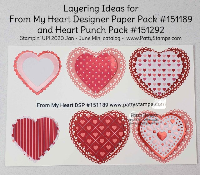 Layering ideas with Heart Doilies and the From My Heart designer paper from Stampin Up featuring foiled hearts perfect for punching with the Heart Punch Pack. order online Patty Bennett www.PattyStamps.com