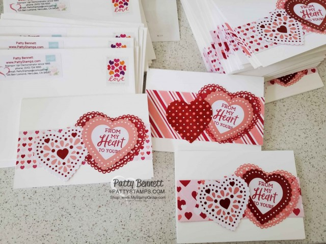 From My Heart designer paper from Stampin Up featuring foiled hearts perfect for punching with the Heart Punch Pack. Easy Valentine card idea by Patty Bennett www.PattyStamps.com