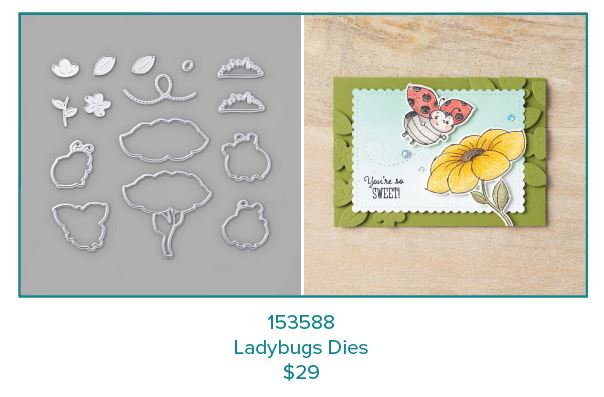 Stampin Up Coordination Product Release:  Ladybug Dies #153588 Available Feb. 4, 2020 while supplies last. Coordinates with  LIttle Ladybug Hostess stamp set from the 2020 Sale-a-Bration Brochure. Patty Bennett.   www.PattyStamps.com