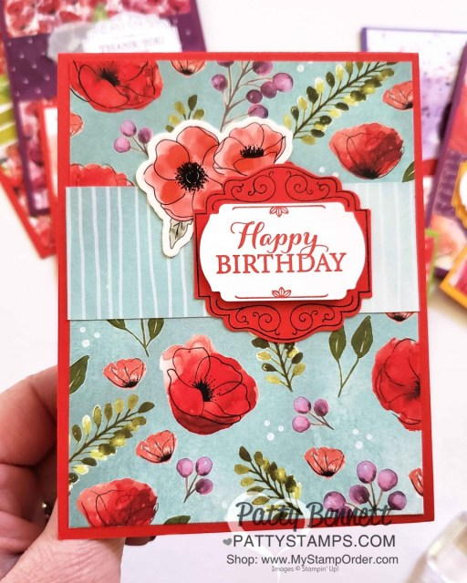 Peaceful Poppies suite - 72 cards from one pack of designer paper. Stampin' UP! 2020 Jan-June mini catalog with Poppies Elements printed die cut flowers. handmade cards by Patty Bennett www.PattyStamps.com