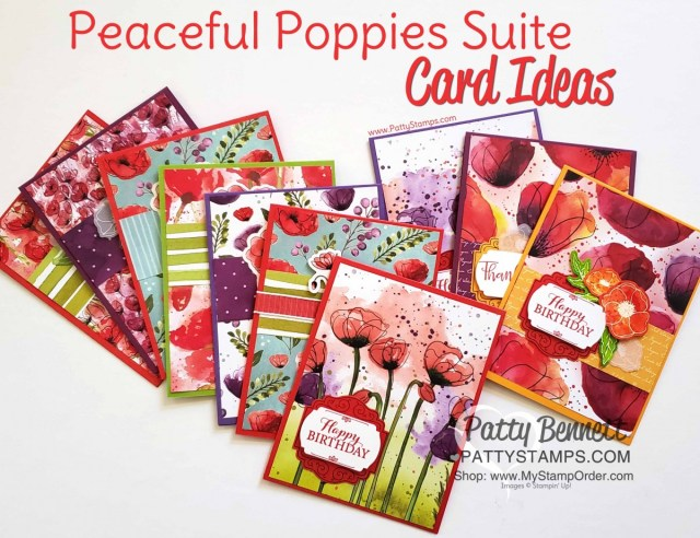 Peaceful Poppies suite - 72 cards from one pack of designer paper. Stampin' UP! 2020 Jan-June mini catalog. handmade cards by Patty Bennett www.PattyStamps.com