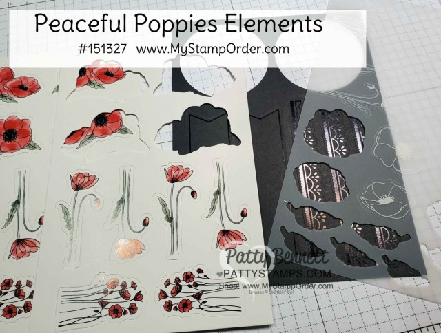 Stampin Up Peaceful Poppies Elements pack with printed die cut images, vellum, watercolor paper and black elements! shop online: Patty Bennett www.PattyStamps.com