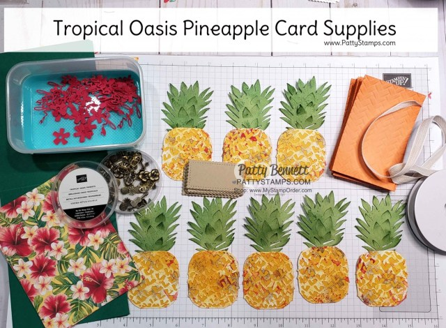 Tropical Oasis / In the Tropics dies pineapple card supplies by Patty Bennett www.PattyStamps.com