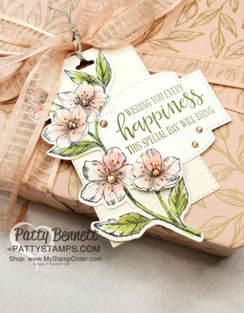 Laser-cut card tin from Stampin Up featuring  Forever Blossoms bundle with cherry blossom flowers colored with sponge daubers, by Patty Bennett www.PattyStamps.com