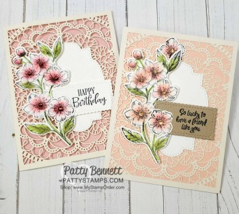 Cherry Blossom Laser-cut cards and decorated tin