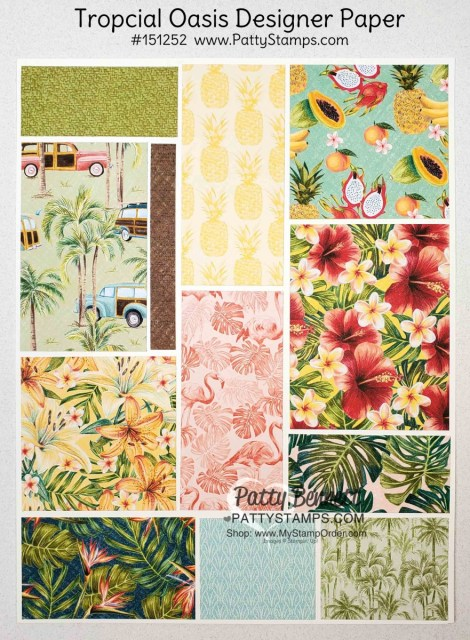 Tropical Oasis Designer Paper #151252 from Stampin' Up for papercrafting and card making projects. www.PattyStamps.com