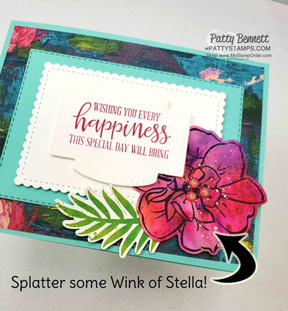 Lily Impressions Sale-a-Bration designer paper background with To a Wild Rose flower colored with Pigment Sprinkles. Stampin Up card making supplies. www.PattyStamps.com
