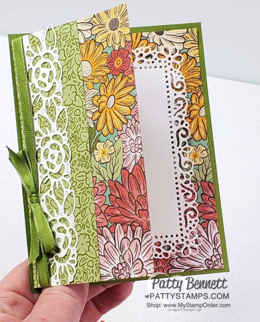 Fun Fold Card featuring Stampin' Up! Ornate Garden Suite and Ornate Border dies. by Patty Bennett www.PattyStamps.com