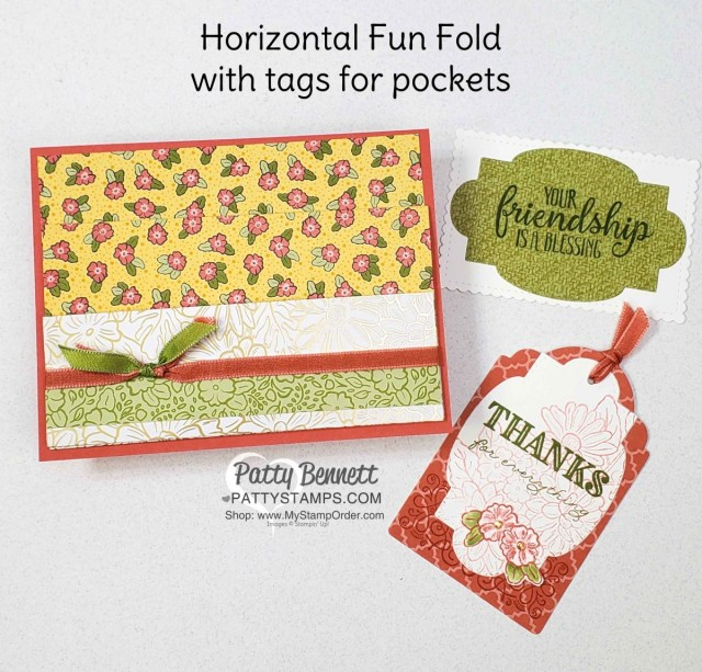 Ornate Garden Fun Fold Card with 2 pockets. Stampin' UP! card making supplies at www.PattyStamps.com
