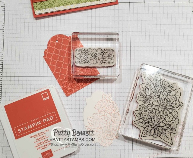 Stamping on tags for my Ornate Garden Fun Fold Card with 2 pockets. Stampin' UP! card making supplies at www.PattyStamps.com
