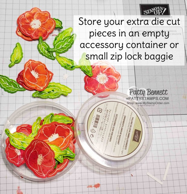 Storage idea for Peaceful Poppies Elements - watercolor paper flowers and leaves colored with Pigment Sprinkles from Stampin' Up! www.pattystamps.com