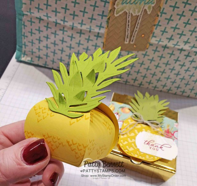 Stampin Up Tropical Oasis Pineapple Mini Curvy Keepsake party favor ideas! Great for decoration for tropical theme party! www.PattyStamps.com