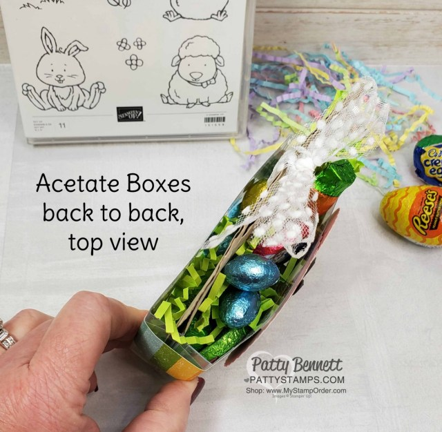 Top View of Easter Bunny Treat box featuring Stampin UP Welcome Easter set, Pleased as Punch designer paper and 1 Acetate card box cut in half!  www.PattyStamps.com