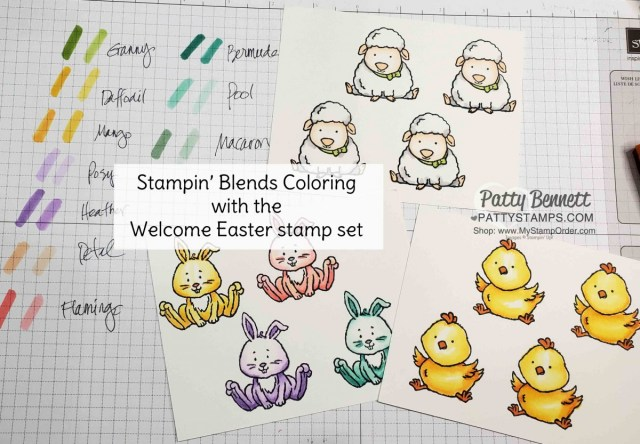 Stampin' UP! Welcome Easter stamp set colored with Stampin Blends markers. by Patty Bennett www.PattyStamps.com