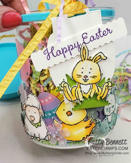 Bunny Tag for my DIY Easter Treat Basket from the Dollar Store! Stampin' UP! Welcome Easter stamp set colored with Stampin Blends markers. by Patty Bennett www.PattyStamps.com