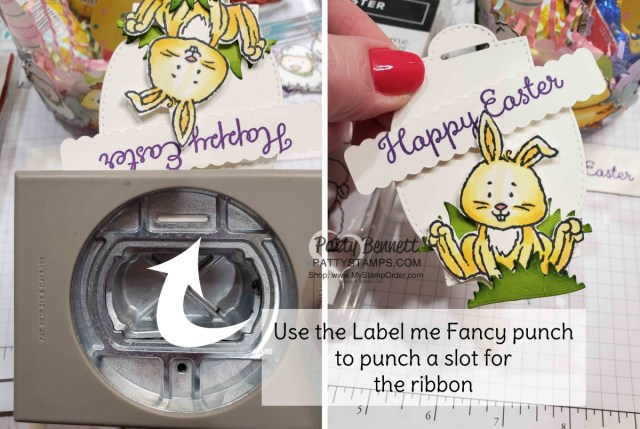 Label me Fancy punch has a slot and a hole punch - makes easy work of adding ribbon to your tag!  www.PattyStamps.com