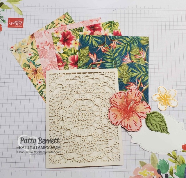 Paper crafting supplies for my Bird Ballad Laser Cut Cards featuring Stampin Up Tropical Oasis designer paper and Timeless Tropical hibiscus stamp by Patty Bennett www.PattyStamps.com