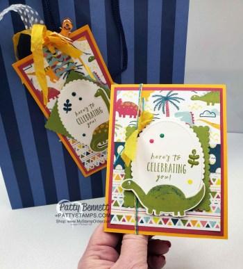 Dinoroar Birthday Card with Matching Bag Tag