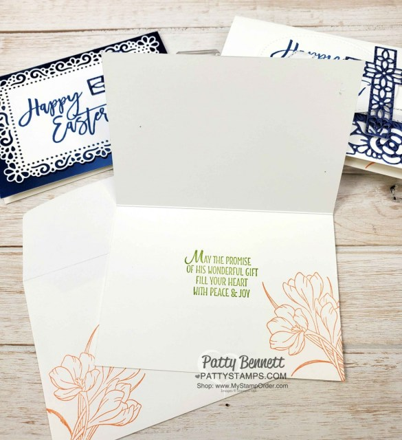 Stampin Up Easter Card Idea featuring Noble Peacock foil, Easter Promise set, and Ornate Garden Suite dies by Patty Bennett www.PattyStamps.com